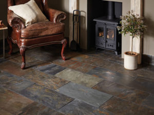 Metamorphic slates and rubber as flooring